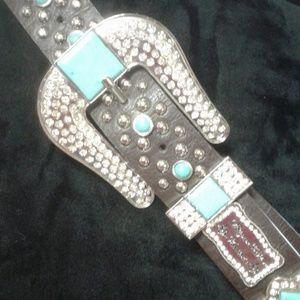 NWOT genuine leather turquoise look blinged belt